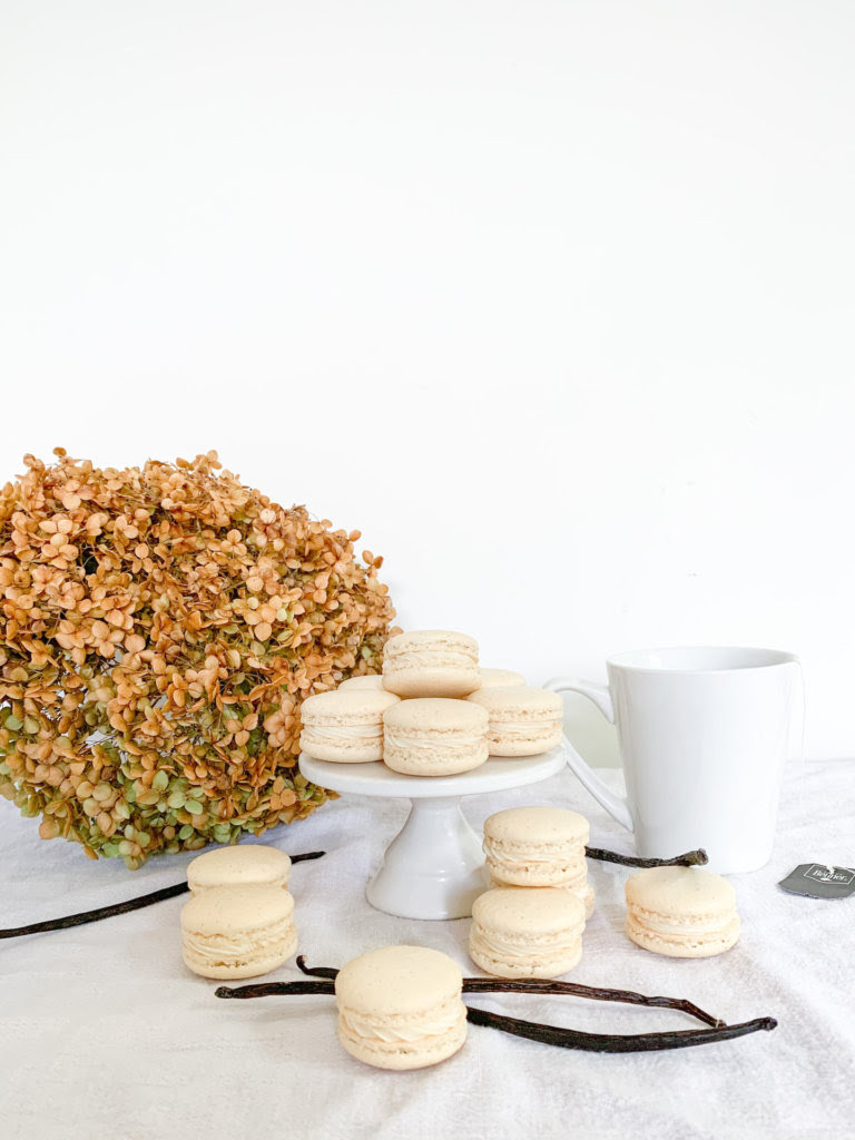 vanilla bean macarons with a dried anabelle hydrangea and a cup of tea with vanilla beans around