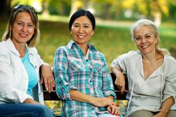 Women sitting in a park