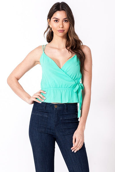 stripe surplice cami with peplum - by Favlux - available at rkcollections.myshopify.com - Mint / LARGE - Tops-Cami