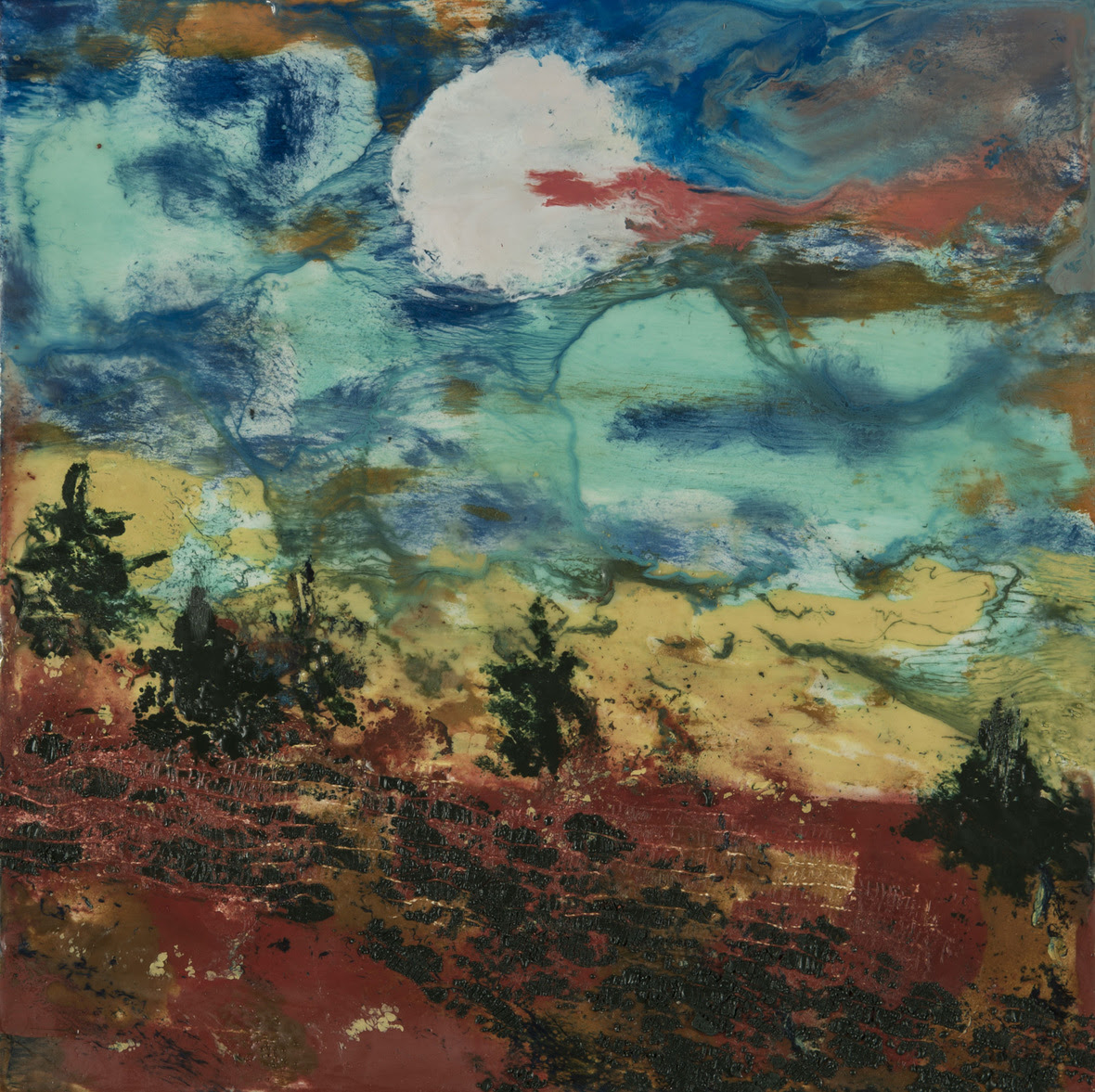 Landscape with Moon  Encaustic Oil  10w x 10h