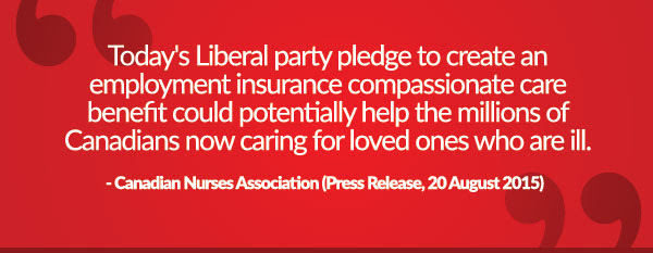 Today's Liberal party pledge to create an employment insurance compassionate care benefit could potentially help the millions of Canadians now caring for loved ones who are ill - Canadian Nurses Association