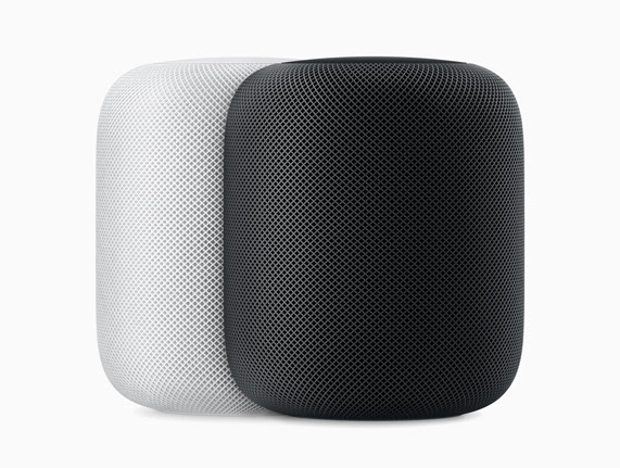 Parlantes HomePod en color blanco y color gris espacial.