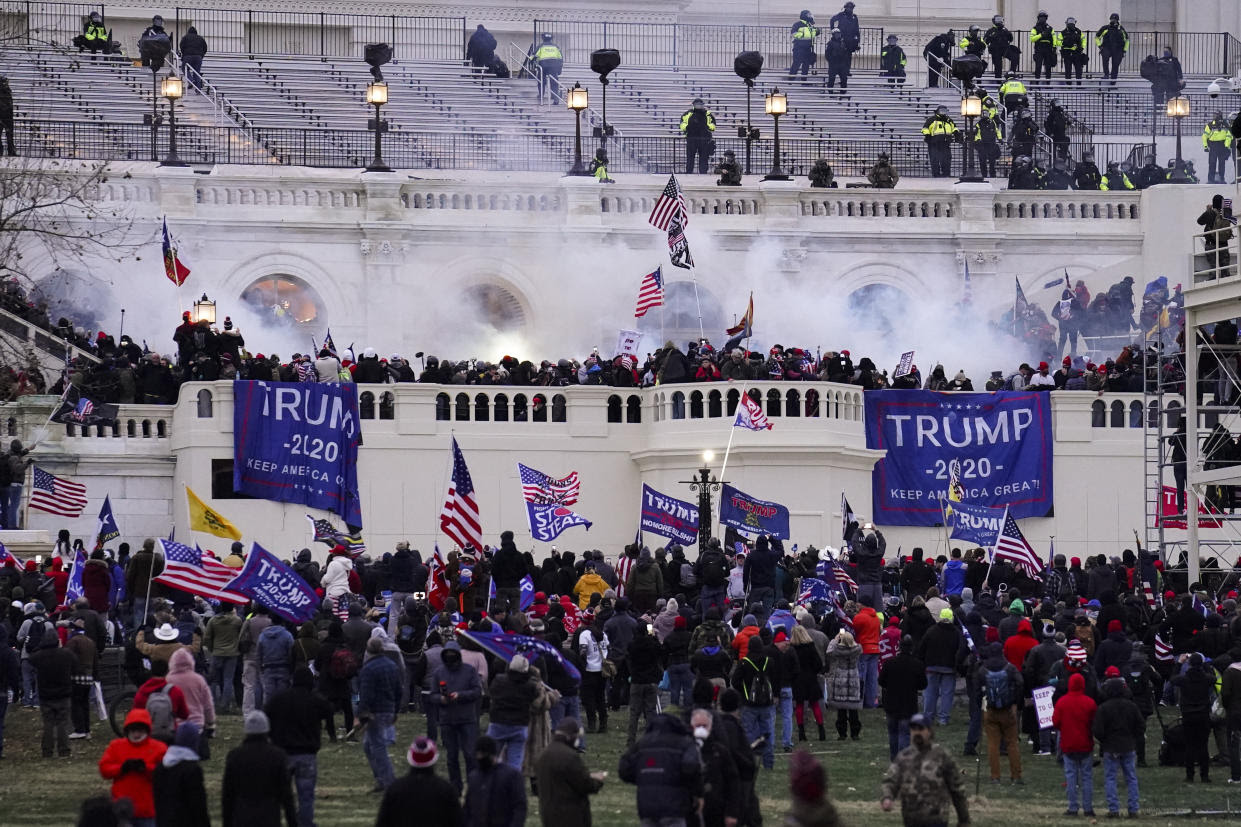 Violent protesters, loyal to President Donald Trump, storm the Capitol, Wednesday, Jan. 6, 2021, in Washington (AP/John Minchillo)