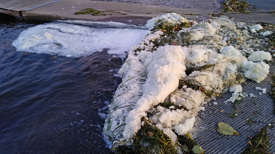 Foam present in Starkweather Creek in October shows elevated levels of PFOS and PFOA.  -  - Photo credit: DNR