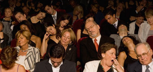 picture of audience falling asleep