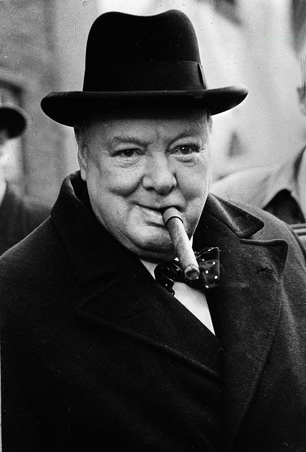 Winston Churchill pictured with his trademark cigar