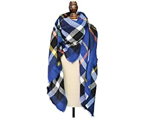 Retro Voile Bohemian Women Voile Soft Plaid Scarf Large Beach Wraps Shawl Sheer