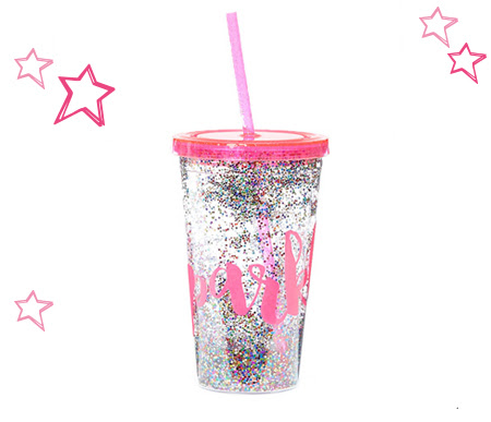 Pink Sparkle Confetti Tumbler Cup