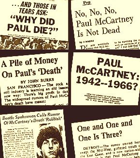 "A collage of news stories on the ""Paul-is-dead"" rumor, 1969."