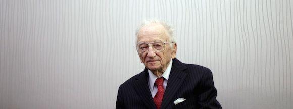 Benjamin Ferencz, durante la entrevista. Foto: Alvaro García/ El País