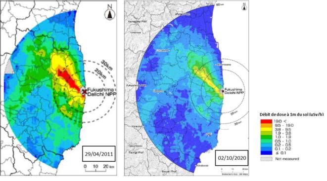 Evolution du débit de dose dans l'air (1m du sol) autour de la centrale de Fukushima Daiichi, entre le 29/04/11 et le 21/01/20 (©IRSN)