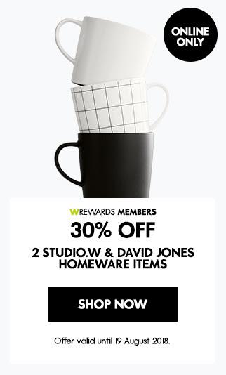 30% off 2 studio.w & DJ homeware items
