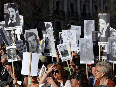 Manifestación de víctimas del franquismo.