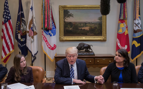 "President Trump meeting on Monday morning with Americans he described as ""victims"" of the Affordable Care Act."