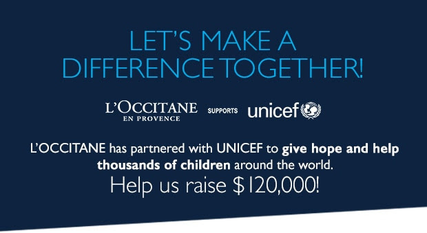 Let's Make A Difference Together! L'OCCITANE X UNICEF. Help us raise $120,000 today!
