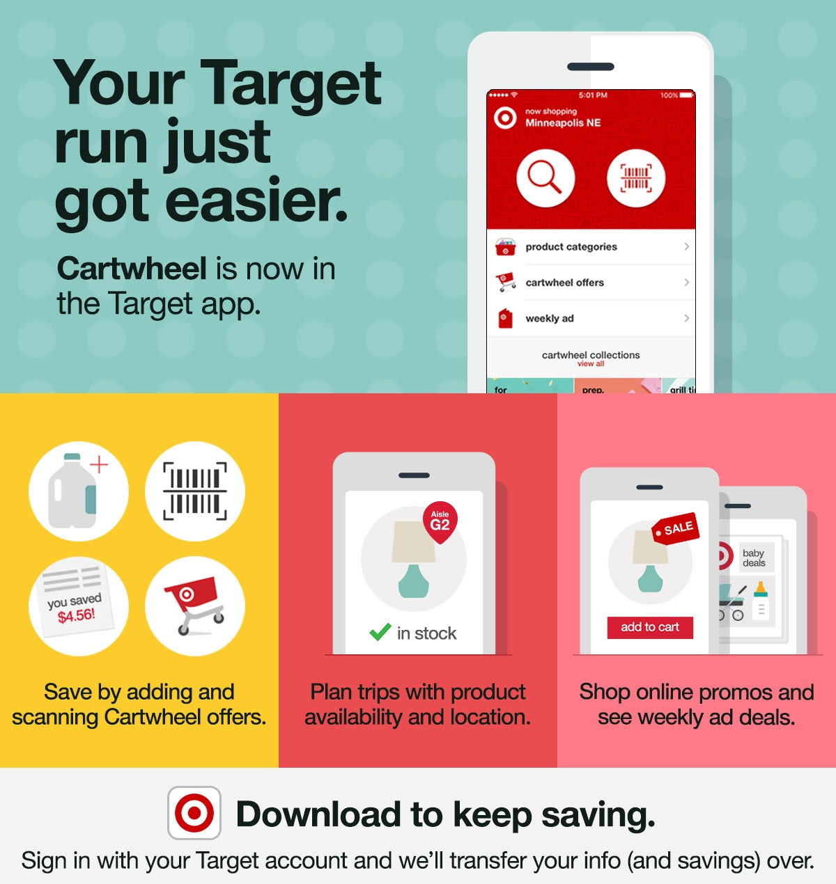Your Target run just got easier. Cartwheel is now in the Target app. Save by adding and scanning Cartwheel offers. Plan trips with product availability and location. Shop online promos and see weekly ad deals. Download to keep saving. Sign in with your Target account and we'll transfer your info (and savings) over.