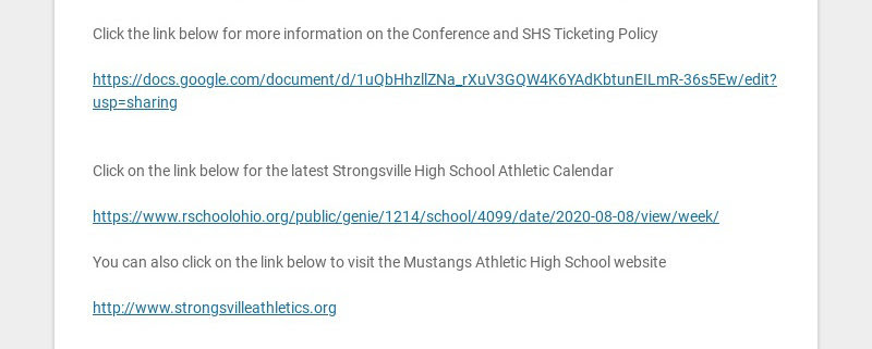 STRONGSVILLE HIGH SCHOOL ATHLETIC SCHEDULE WEEK OF OCTOBER 12-OCTOBER 17 THIS WEEK This week is...