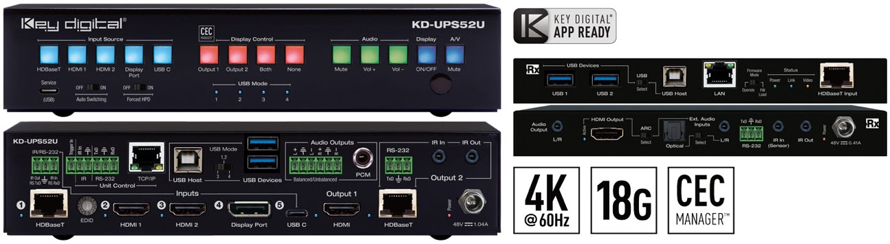 KD-UPS52U Presentation Switcher and KD-X100MRx Kit picture. Front and back of units.