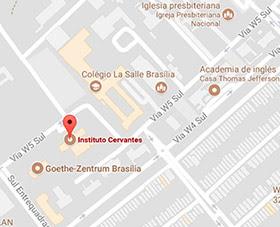 Mapa de localização do Instituto Cervantes do Brasilia