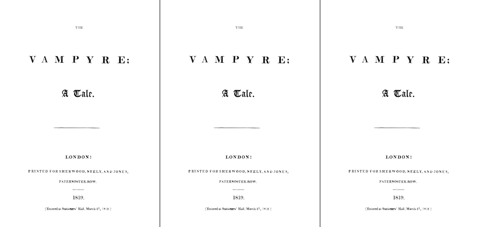 In 1819, John Polidori publishes the first significant piece of prose vampire literature in English.
