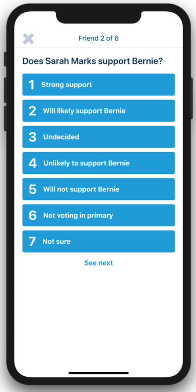 Rank your friends' level of support for Bernie