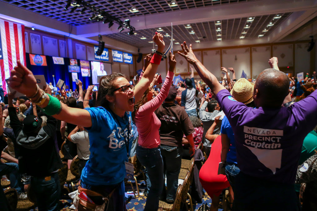 Supporters of Senator Bernie Sanders of Vermont voiced frustration at the Nevada State Democratic Party's convention in Las Vegas on Saturday.
