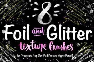 8 Foil & Glitter Procreate Brushes