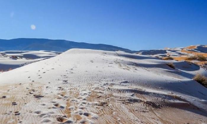 Đụn cát phủ đầy tuyết trắng ở sa mạc Sahara. Ảnh: Bav Media.