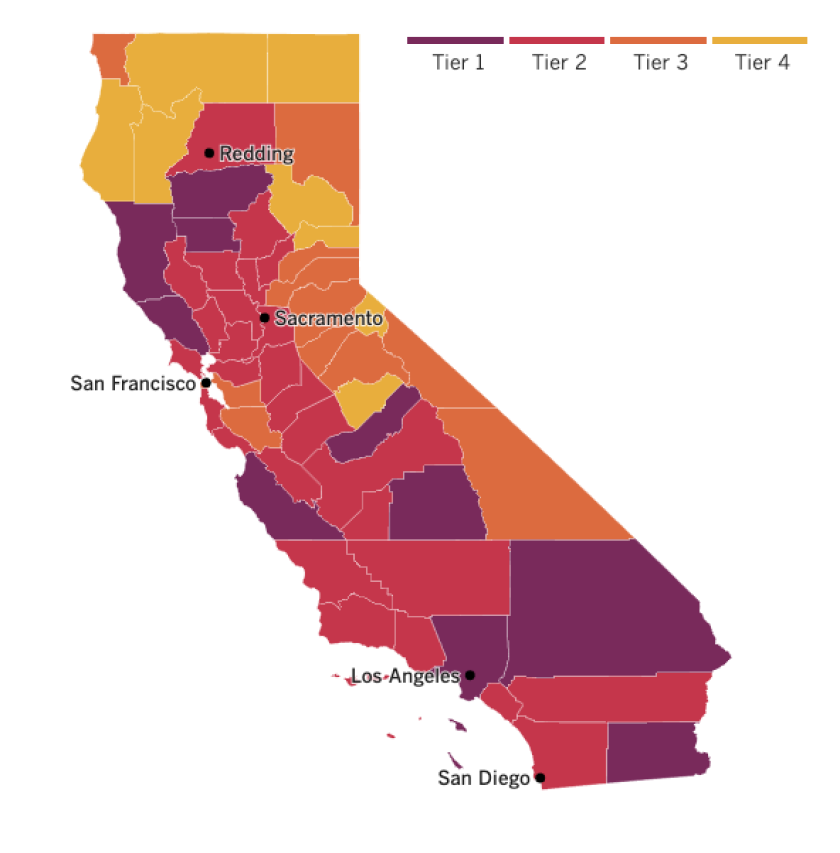 A map of California showing the tiers to which counties have been assigned under the reopening plan based on coronavirus risk