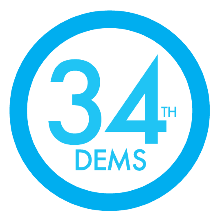 "34th Dems square logo. Blue circle with text ""34th Dems"" inside, also in blue."