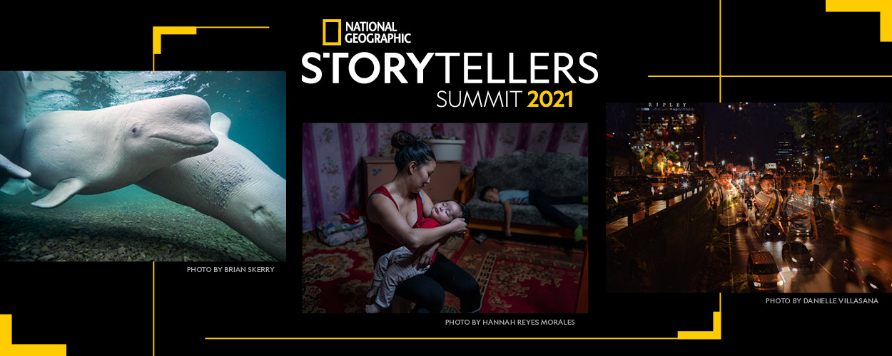 Various promotional photos with a link to the National Geographic Storytellers Summit site