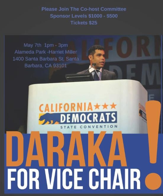 Photo of Daraka for vice chair at the California Democrats state convention