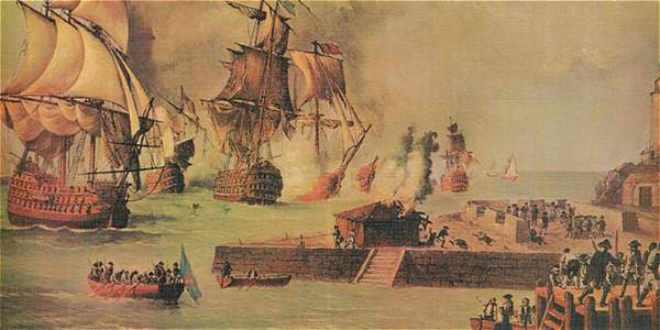El óleo 'Ataque británico sobre sobre Cartagena de Indias', del pintor Luis Fernández Gordillo, se encuentra en el Museo Naval de Madrid.
