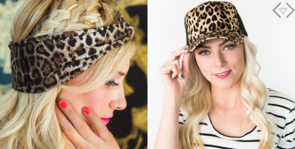 Leopard print hair accessories with our headwrap set of 2 for $9.98 & our trucker hat for $10.98: