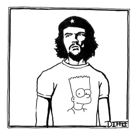 funny carrtoon showing che guevara wearing a Bart simpson T-shirt