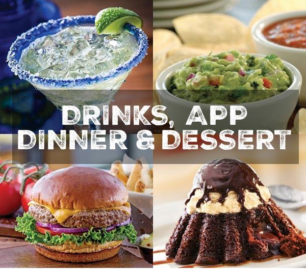 Drinks, App, Dinner & Dessert