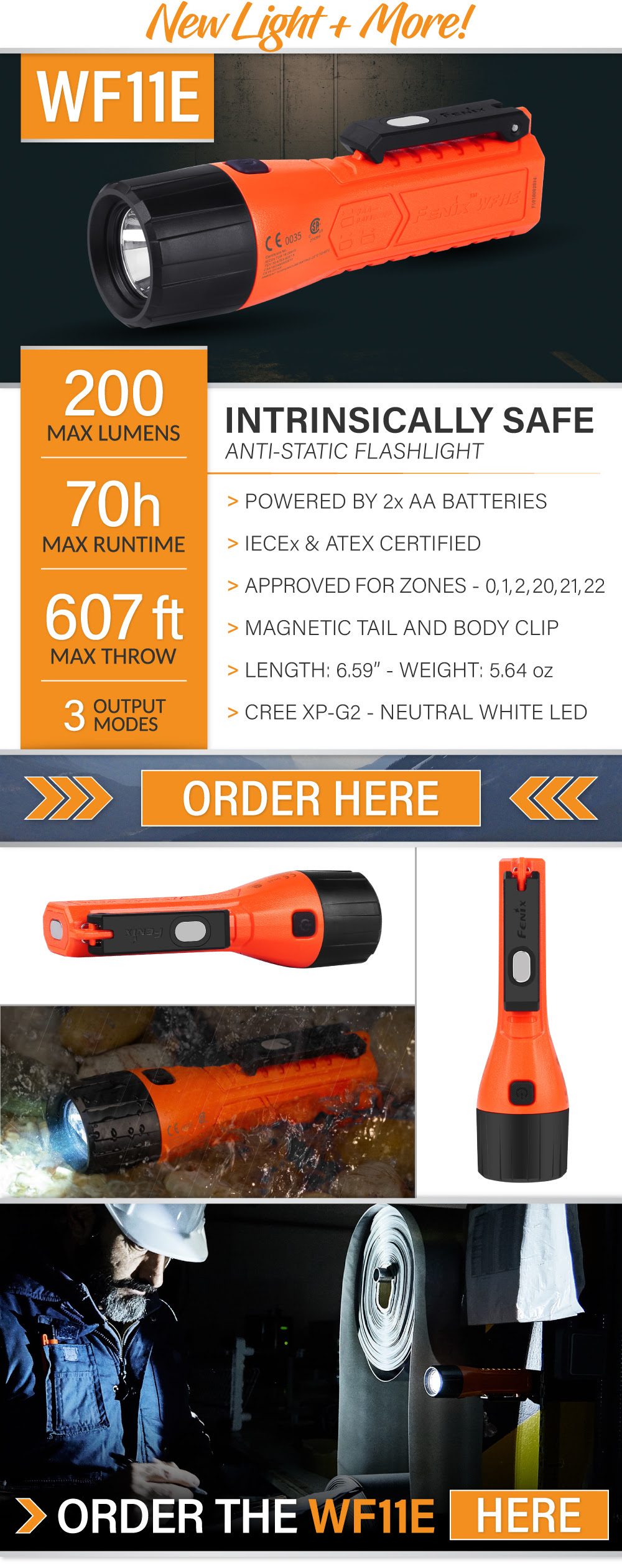 NEW Fenix WF11E - Intrinsically Safe Flashlight