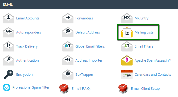 EAC Directory; Creating and managing mailing lists
