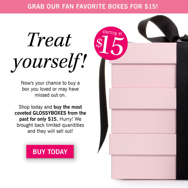 Nows your chance to give yourself a box you loved or may have missed out on. Shop today and buy the most coveted GLOSSYBOXES from the past for only $15. Hurry! We brought back limited quanitities and they will sell out!