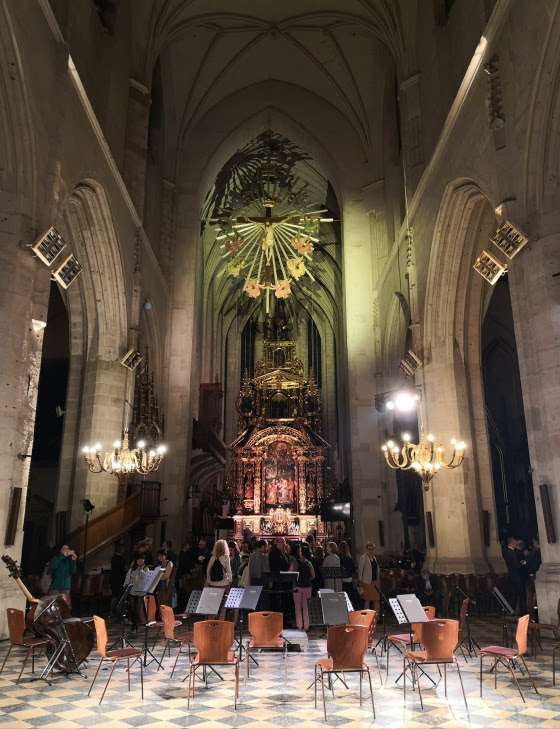 View from a performance space in a cathedral