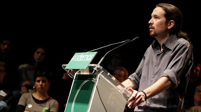 Pablo Iglesias se dirige al público durante la presentación de la candidatura a la elecciones europeas Podemos.