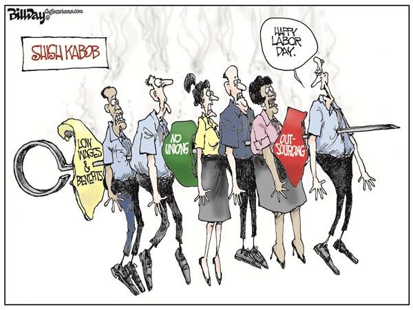 LABOR DAY © Bill Day,Cagle Cartoons,labor day, shish kabob