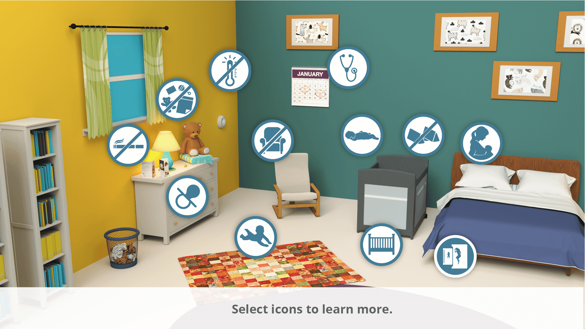 The interactive room shows an adult bedroom with icons showing different safe infant sleep recommendations.