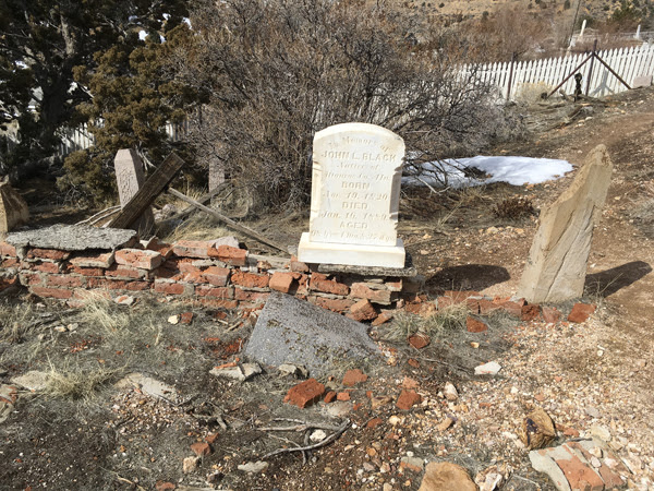 Grave of John Black at Virginia City's cemetery