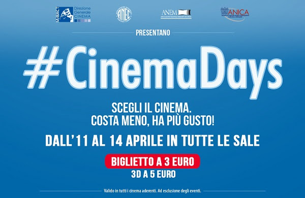 #CinemaDays Al via domani i CinemaDays: film in sala a soli 3 euro fino al 14 aprile 2016