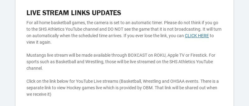 LIVE STREAM LINKS UPDATES For all home basketball games, the camera is set to an automatic timer....