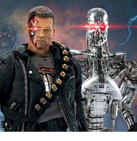Terminator 2: Judgement Day Twelfth Scale Supreme T-800 (Battle Damaged) & Endoskeleton (Heavy Weathering) Super Deluxe Figure Set