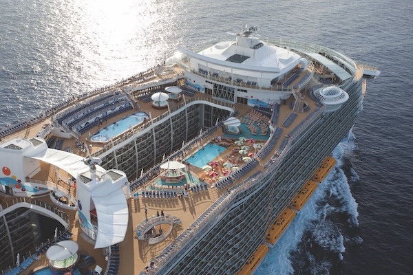 eagle view of the Royal Caribbean's Oasis of the Seas cruise ship