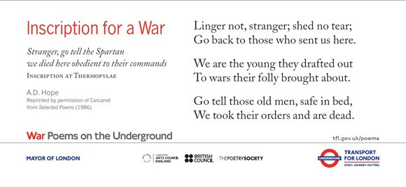 TfL Press Release - New Set of War Poems on the Underground in Commemoration of the centenary of the First World War