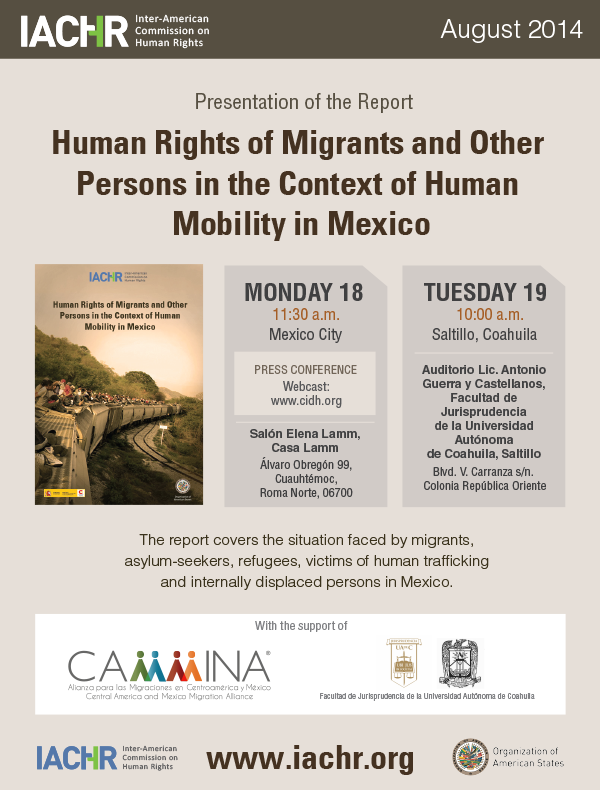 Presentation of the report: Human Rights of Migrants and Other Persons in the Context of Human Mobility in Mexico